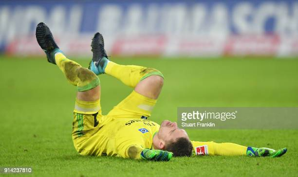Christian Mathenia of Hamburg reacts during the Bundesliga match between Hamburger SV and Hannover 96 at Volksparkstadion on February 4 2018 in...