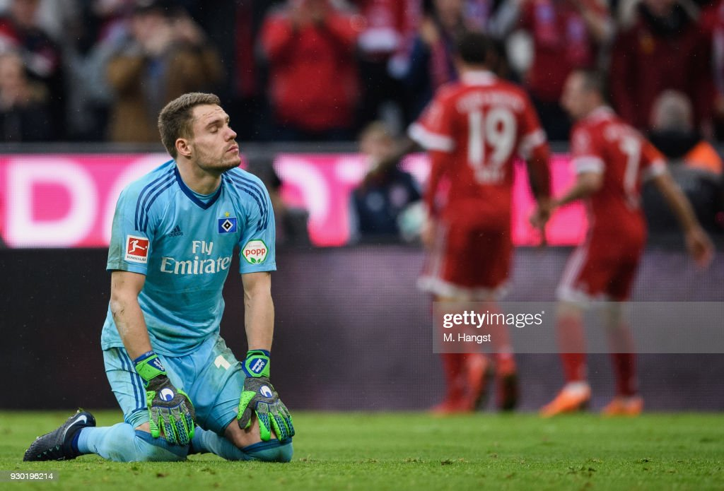 Christian Mathenia of Hamburg shows his disappointment after Franck Ribery scored the fifth goal during the Bundesliga match between FC Bayern Muenchen and Hamburger SV at Allianz Arena on March 10, 2018 in Munich, Germany.