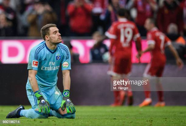 Christian Mathenia of Hamburg shows his disappointment after Franck Ribery scored the fifth goal during the Bundesliga match between FC Bayern...
