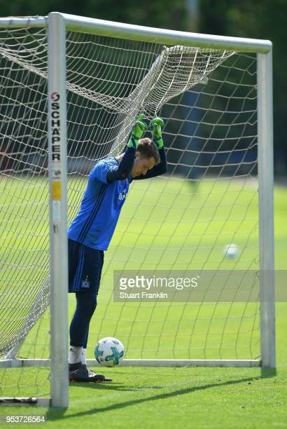 Christian Mathenia ponders during the training session of Hamburger SV at Volksparkstadion on May 2 2018 in Hamburg Germany