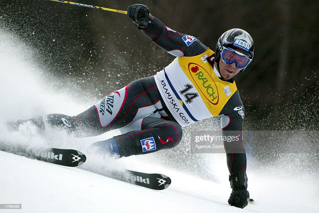 Christian Mayer of Austria speeds through a turn en route to 2nd place in the Men's Giant Slalom on January 4, 2003 at the FIS World Cup in Kranjska Gora, Slovenia.