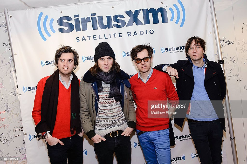 Christian Mazzalai, Deck d'Arcy, Laurent Brancowitz and Thomas Mars of the band Phoenix visit SiriusXM Studios on February 20, 2013 in New York City.