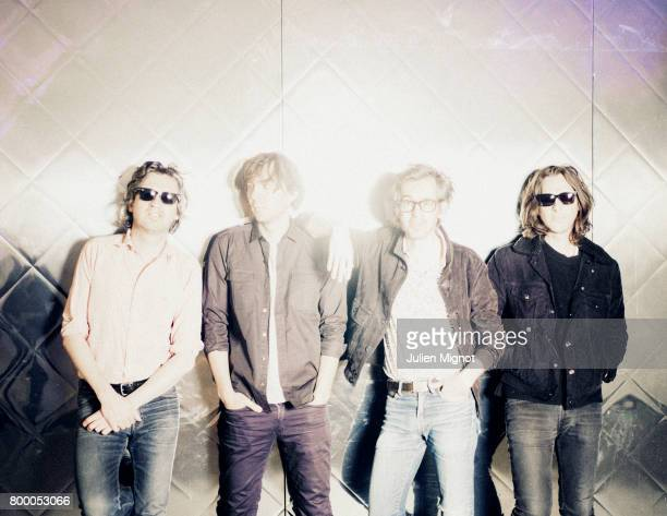 Christian Mazzalai Thomas Mars Laurent Brancowitz Deck D'Arcy from Phoenix band are photographed for New York Times on April 11 2017 in Paris France...