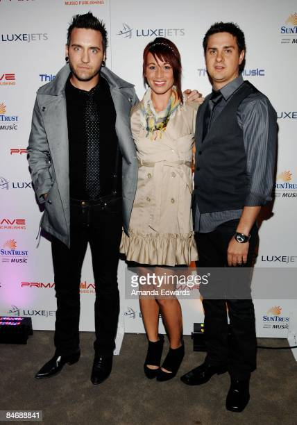 Christian McAlhaney Isabel Roa and Kyle Griner attend the Primary Wave Music Publishing preGrammy party at SLS Hotel on February 7 2009 in Los...