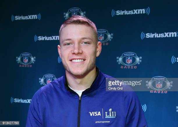 Christian McCaffrey of the Carolina Panthers attends SiriusXM at Super Bowl LII Radio Row at the Mall of America on February 2 2018 in Bloomington...