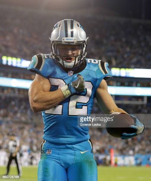 Christian McCaffrey of the Carolina Panthers celebrates a fourth quarter touchdown against the Philadelphia Eagles during their game at Bank of...