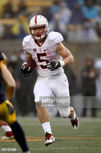 Christian McCaffrey of the Stanford Cardinal in action against the California Golden Bears at California Memorial Stadium on November 19 2016 in...