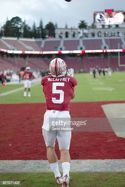 Christian McCaffrey of the Stanford Cardinal warms up before an NCAA football game against the Rice Owls played on November 26 2016 at Stanford...