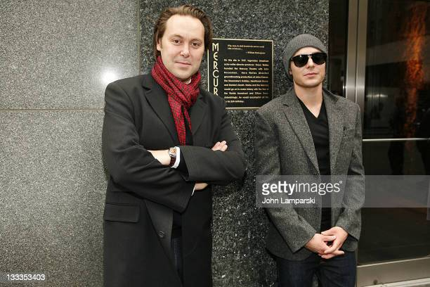 """Christian McKay and Zac Efron attend the """"Me and Orson Welles"""" plaque unveiling the at the site of the original Mercury Theater on November 24, 2009..."""