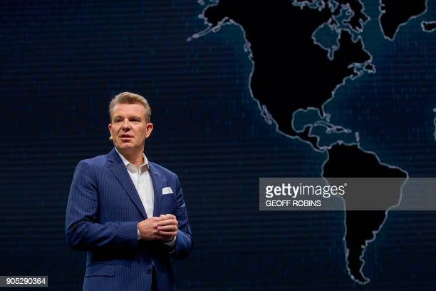 Christian Meunier Global Division Vice President Global Marketing and Sales Operations Infiniti Q speaks during a press conference at the 2018 North...