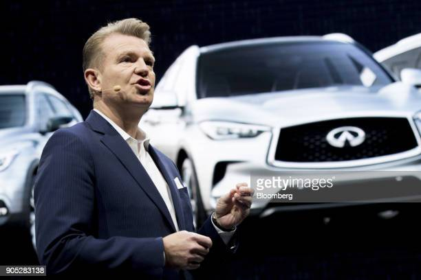Christian Meunier global division vice president of global marketing and sales operations for Infiniti Motor Co speaks during the 2018 North American...