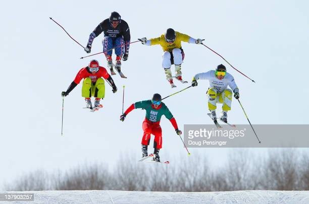 Christian Mithassel of Norway leads the pack to win the semifinal heat ahead of Casey Puckett of the USA Dave Duncan of Canada Daniel Bohnacker of...