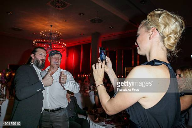 Christian Moestl Axel Schulz and Franziska Knuppe attend the TULIP Gala 2015 on October 10 2015 in Berlin Germany