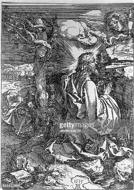 Christian Motifs Gospel of Matthew 3647 Jesus praying in the garden of Gethsemane etching by Albrecht Duerer 1515