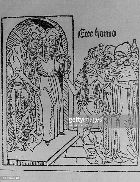 Christian motifs Woodcuts ''Ecce Homo'' 'Behold the Man' Pilate and Jesus Christ before the people that call for the release of Barabbas and the...
