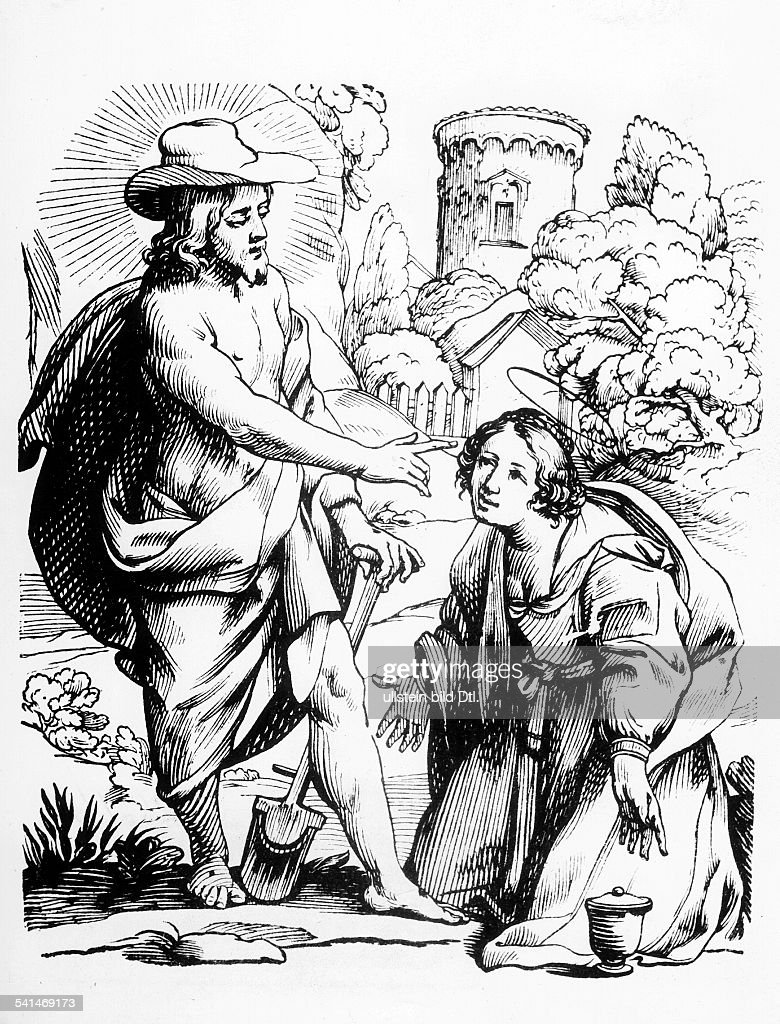 Christian motifs Woodcuts Gospel of John, 20, 11-18: Jesus appearing to Mary of Magdala as gardener - woodcut by Jacques Stella - 17th century : News Photo