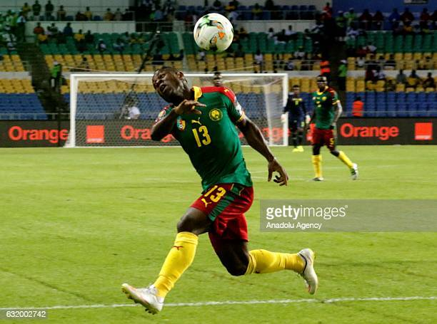 Christian Mougang Bassogog of Cameroon in action during the 2017 Africa Cup of Nations group A football match between Cameroon and Guinea Bissau at...