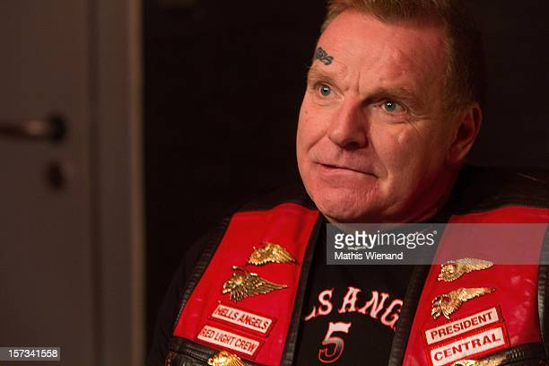 Christian Mueller head of the 'West Central' chapter of the Hells Angels speaks to media following the defection of 30 members of the rival Bandidos...