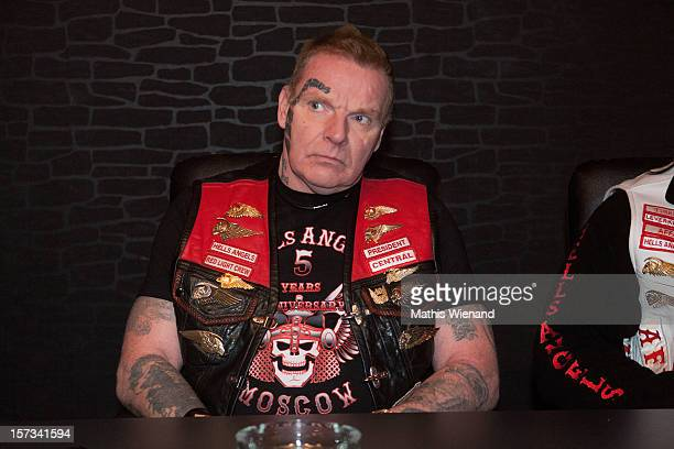 Christian Mueller, head of the 'West Central' chapter of the Hells Angels, speaks to media following the defection of 30 members of the rival...