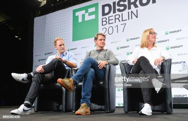 Christian Nagel Christian Meermann and Tanja Kufner talk at TechCrunch Disrupt Berlin 2017 at Arena Berlin on December 5 2017 in Berlin Germany