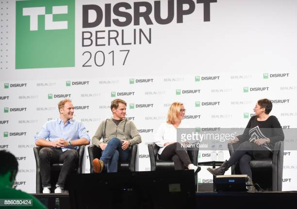 Christian Nagel Christian Meermann and Tanja Kufner talk with moderator Ingrid Lunden at TechCrunch Disrupt Berlin 2017 at Arena Berlin on December 5...