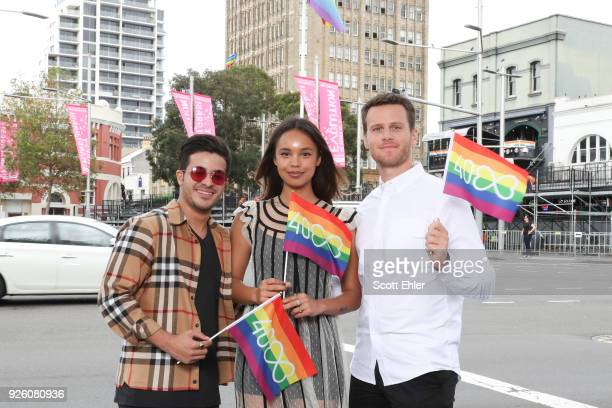Christian Navarro Alisha Boe and Jonathan Groff at Taylor Square on March 2 2018 in Sydney Australia The Sydney Mardi Gras parade began in 1978 as a...