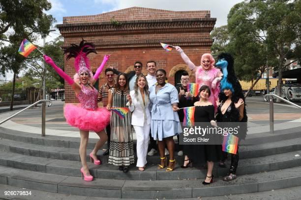 Christian Navarro Alisha Boe Samira Wiley Danni Minogue Danielle Brooks Lea Delaria and Yael Stone in Taylor Square on March 2 2018 in Sydney...