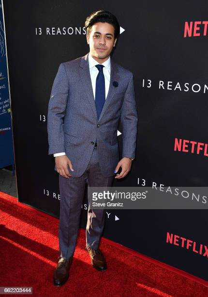 Christian Navarro arrives at the Premiere Of Netflix's '13 Reasons Why' at Paramount Pictures on March 30 2017 in Los Angeles California