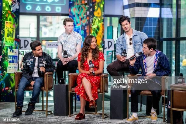 Christian Navarro Devin Druid Alisha Boe Ross Butler and Dylan Minette discuss '13 Reasons Why' with the Build Series at Build Studio on May 22 2018...