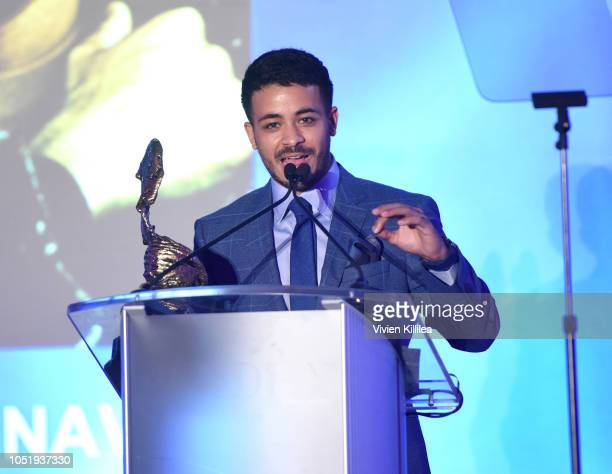 Christian Navarro receives the Rising Star Award at the San Diego International Film Festival 2018 on October 11 2018 in San Diego California