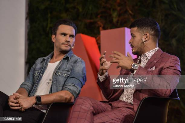 Christian Navarro speaks next to Juan Pablo Raba during Netflix Slate Event 2018 at JW Marriot on October 9 2018 in Bogota Colombia