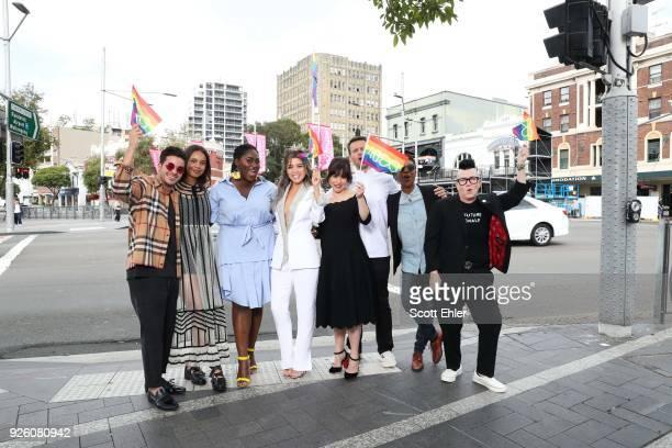 Christian NavarroAlisha Boe Danielle Brooks Dannii Minogue Yael Stone Jonathan Groff Samira Wiley and Lea Delaria at Taylor Square on March 2 2018 in...