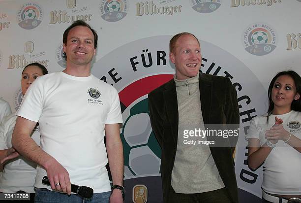 Christian Nerlinger and Matthias Sammer during the 'Play Soccer Get Together' charity tournament sponsored by Bitburger on February 24 2007 in Munich...