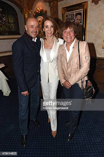 Christian Neureuther Ingrid Kraus and Rosi Mittermaier attend the Peter Kraus 75th Birthday party at Suedtiroler Stuben on March 18 2014 in Munich...