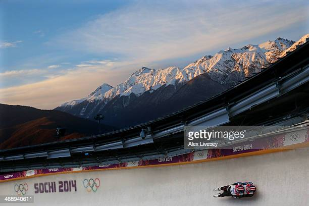 Christian Niccum and Jayson Terdiman of the United States make a run during the Men's Luge Doubles on Day 5 of the Sochi 2014 Winter Olympics at...