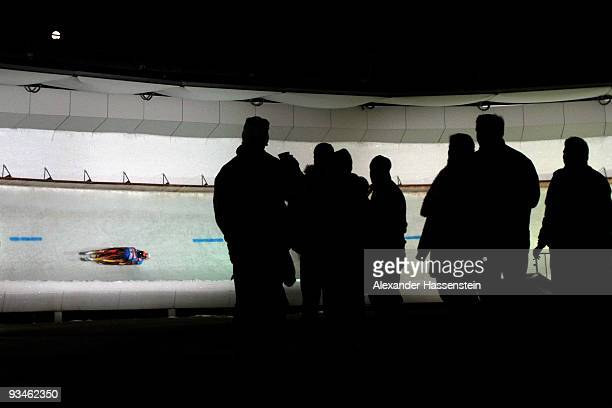 Christian Niccum of USA and his team mate Dan Joye compete in the World Cup Double event during the Viessmann Luge World Cup on November 28, 2009 in...