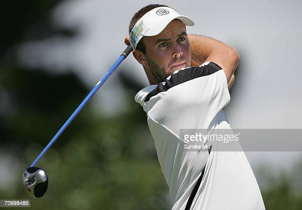 Christian Nilsson of Sweden tees off on the 14th hole during round three of the New Zealand Open at Gulf Harbour Country Club on the Whangaparoa...