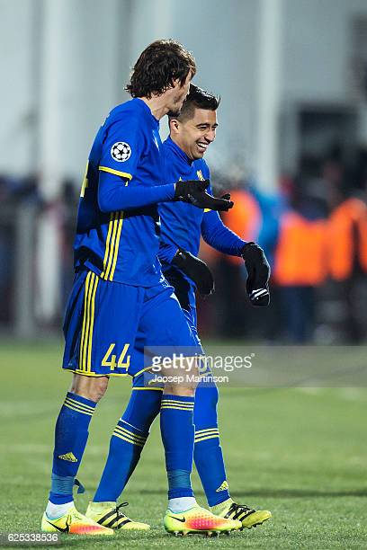 Christian Noboa and Cesar Navas of FC Rostov walk off the pitch after the UEFA Champions League match between FC Rostov and Bayern Muenchen at Olimp2...