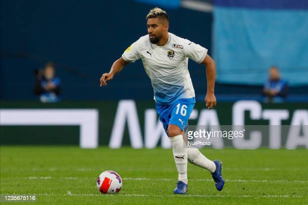 Christian Noboa of Sochi in action during the Russian Premier League match between FC Zenit Saint Petersburg and FC Sochi on October 3, 2021 at...