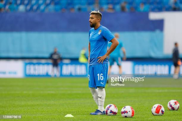 Christian Noboa of Sochi looks on during the warm-up ahead of the Russian Premier League match between FC Zenit Saint Petersburg and FC Sochi on...