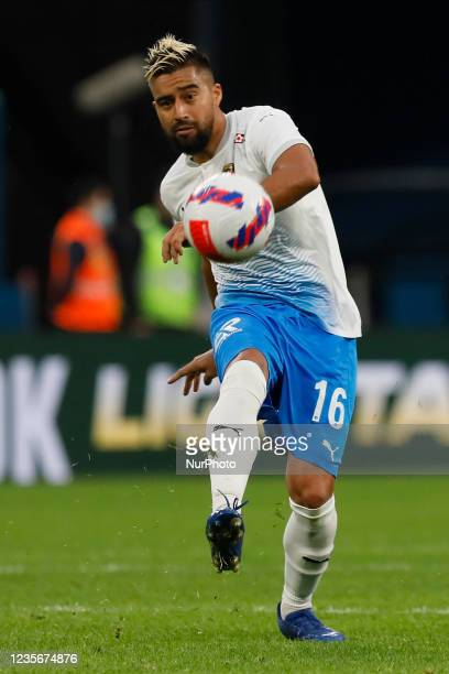 Christian Noboa of Sochi passes the ball during the Russian Premier League match between FC Zenit Saint Petersburg and FC Sochi on October 3, 2021 at...