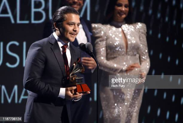 Christian Nodal accepts the award for Best Ranchero/Mariachi Album for Ahora performs onstage during the 20th annual Latin GRAMMY Awards at MGM Grand...