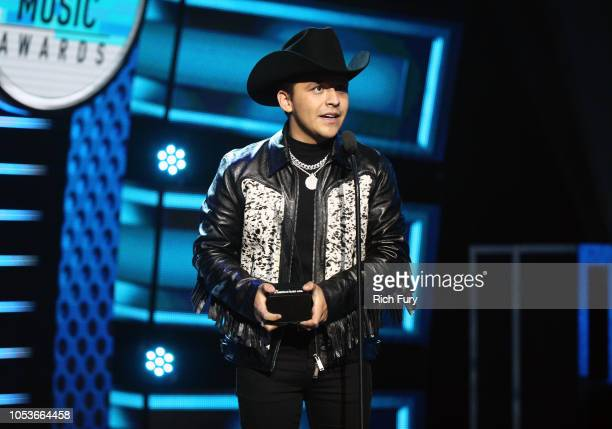 Christian Nodal accepts the Favorite Regional Mexican Artist award onstage during the 2018 Latin American Music Awards at Dolby Theatre on October 25...