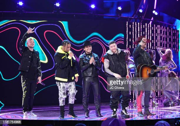Christian Nodal and Piso 21 perform onstage during the 2019 Latin American Music Awards at Dolby Theatre on October 17 2019 in Hollywood California