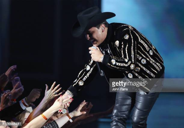 Christian Nodal performs on stage at Univision's 31st Edition Of Premio Lo Nuestro A La Musica Latin at American Airlines Arena on February 21 2019...