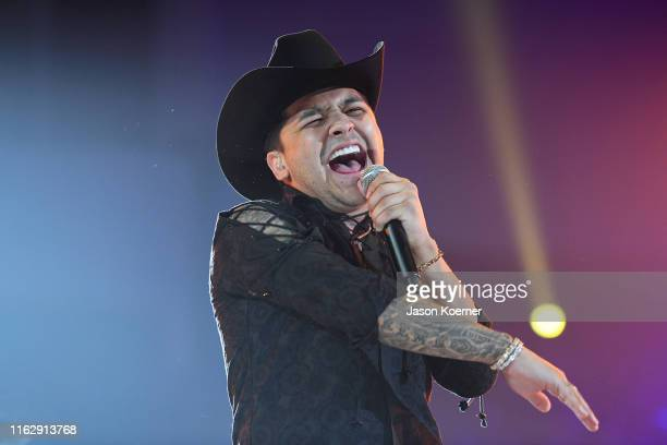Christian Nodal performs on stage during Premios Juventud 2019 at Watsco Center on July 18 2019 in Coral Gables Florida