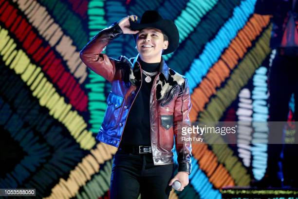 Christian Nodal performs onstage during the 2018 Latin American Music Awards at Dolby Theatre on October 25 2018 in Hollywood California