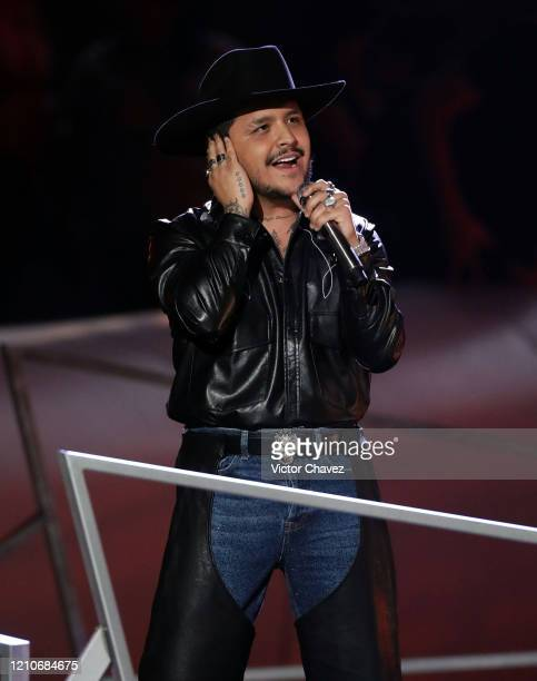 Christian Nodal performs onstage during the 2020 Spotify Awards at the Auditorio Nacional on March 05 2020 in Mexico City Mexico