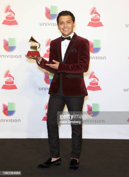 Christian Nodal poses in the press room during the 19th annual Latin GRAMMY Awards at MGM Grand Garden Arena on November 15 2018 in Las Vegas Nevada