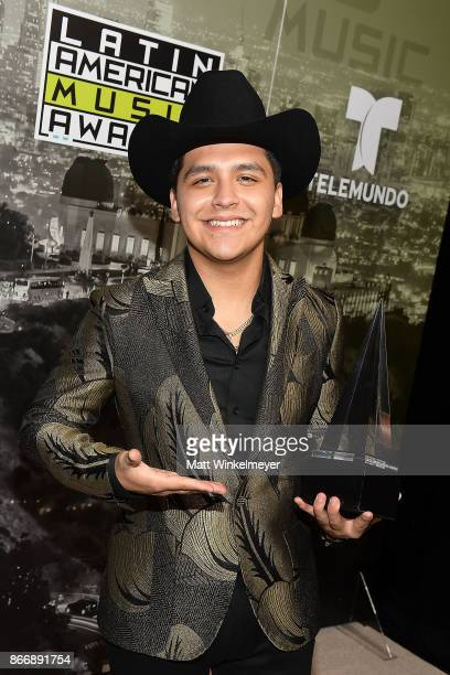 Christian Nodal poses with his award during the 2017 Latin American Music Awards at Dolby Theatre on October 26 2017 in Hollywood California